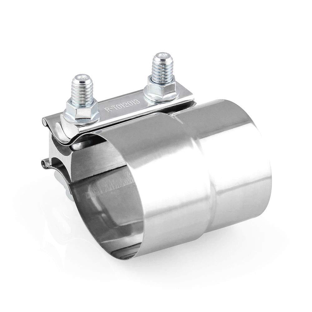 2.5 pulgadas Acero Inoxidable para 3inch ID to 3inch OD Conector de Tubo de Escape KKmoon Abrazadera para Tubo de Escape Universal