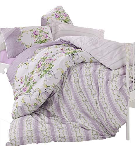 Gold Case Mary CASE Ranforce Series Comforter Set (Including Comforter) - Loure (Lilac) - International Single Size - Made in Turkey - 100% Cotton / 4 Pieces - Original Item (Loure Bath)