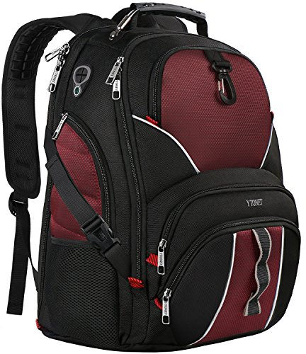Over Double Compartment Laptop Bag - 17 inch Laptop Backpack,Large Travel Backpacks with USB Charger Port for Men Women,Smart Scan Computer Bag w/Bottle Umbrella Organizer,Water Resistant Business Bag fit 15 15.6 in Notebook- Red