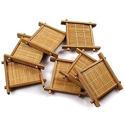 Natural 6pcs Gong Fu Teapot Mat, Bamboo Kung Fu Tea Cup Pad, Table Cup Holder Disc Saucer Heat Insulation Tea