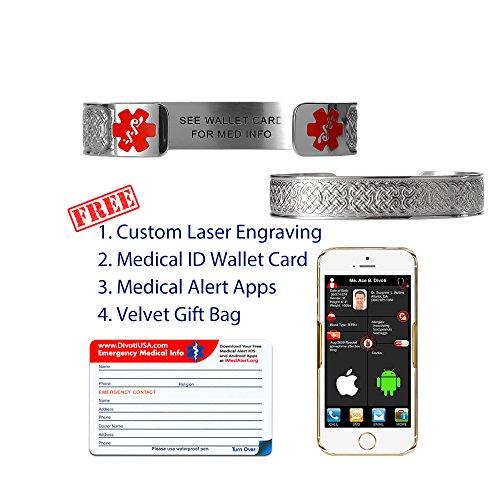 Divoti Pre Engraved See Wallet Card Celtic Knot 316l Medical Alert