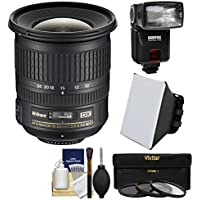 Nikon 10-24mm f/3.5-4.5 G DX AF-S ED Zoom-Nikkor Lens with Flash + Soft Box + 3 Filters + Kit for D3200, D3300, D5300, D5500, D7100, D7200 Cameras