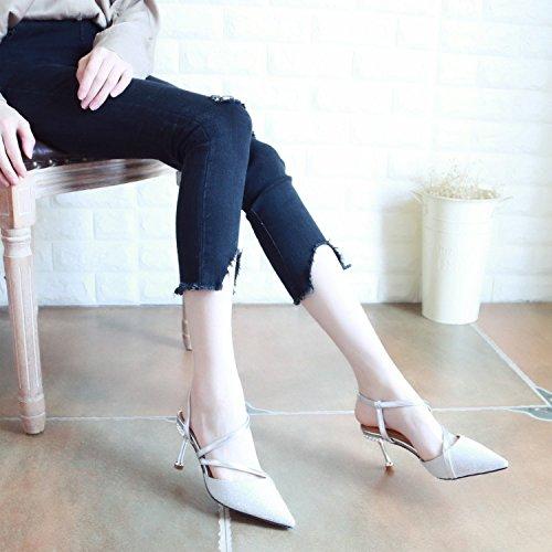 in poco sandali e profonde estate belle silvery alti tacchi paillettes appuntita la e YMFIE moda di Cari Hgq6nw6p5