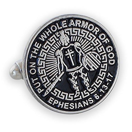 Armor Of God Enamel Lapel Pin + Tie Bar + Cufflinks (Silver Cufflinks)