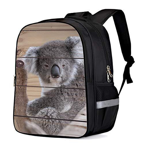 (Large School Backpack for Kids/Kindergarten Cute Animal Closeup Koala Bear On Vintage Wood Background 3D Printed Stylish Laptop Book Bag Lightweight Lunch Bag Daypack for Boys and Girls Arts Language)