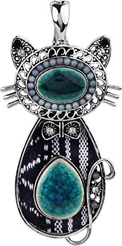 - Wearable Art by Roman Fabric & Stone Cat Pendant Black/White/Silver Tone