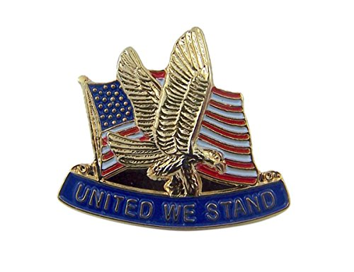 Patriotic Gold Tone Enameled United We Stand United States Flag Lapel Pin, 7/8 -