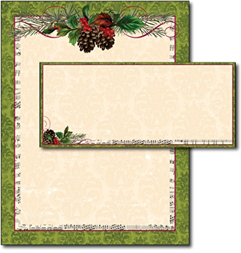 Pinecone Garland Letterhead & Envelopes - 40 Sets (Stationery Christmas Envelopes And)