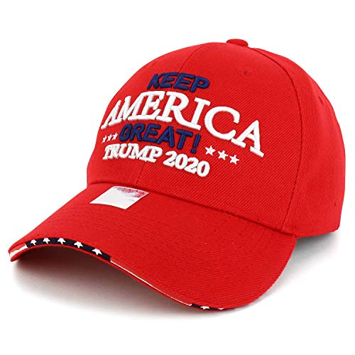 Trendy Apparel Shop Trump 2020 Keep America Great Embroidered Baseball Cap - Red