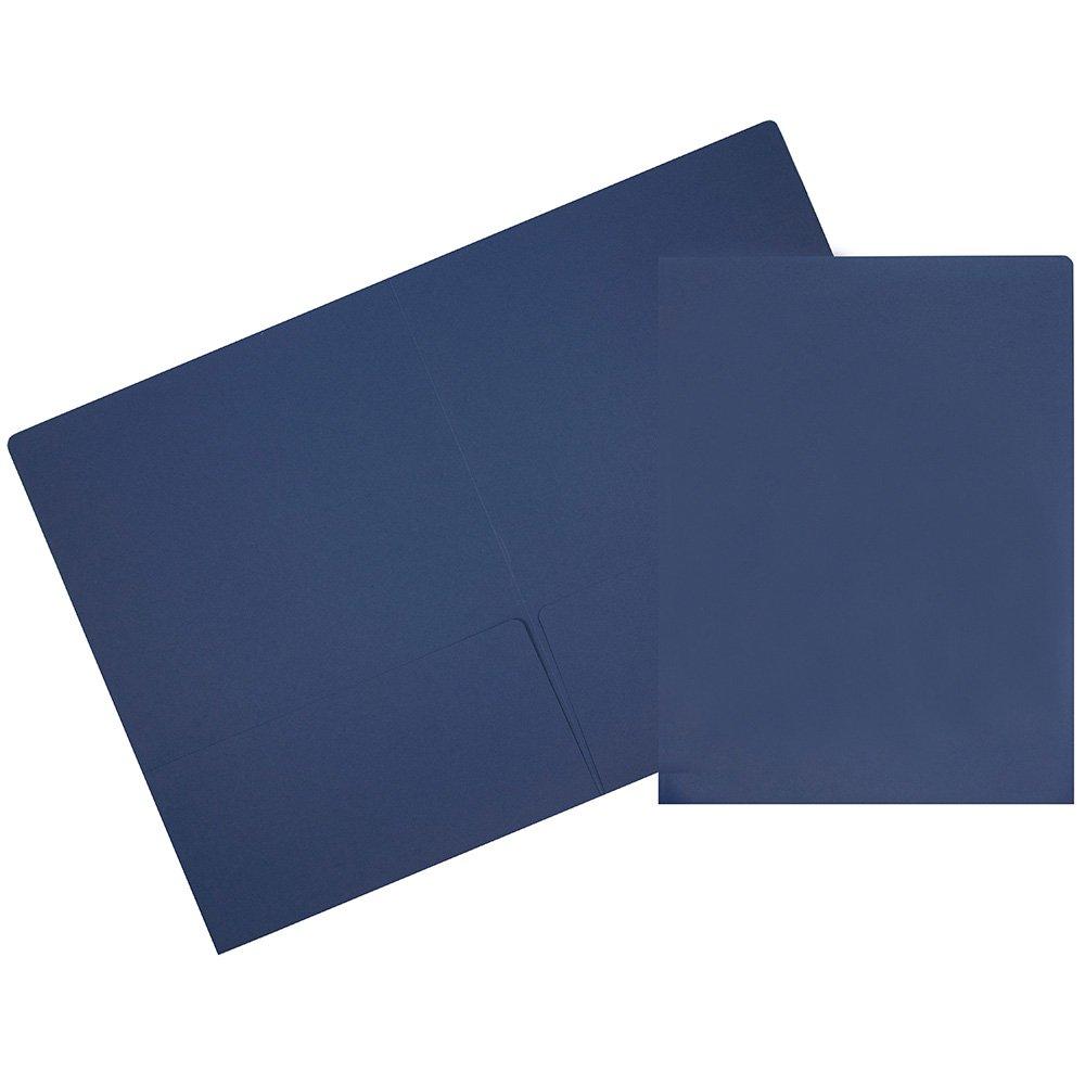 JAM Paper 2 Pocket Matte Cardstock Paper School Presentation Folder - Presidential Blue - 100/pack
