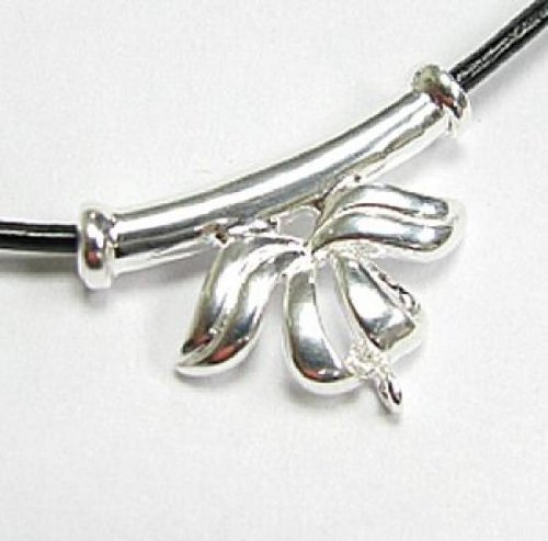 (1 pc .925 Sterling Silver Bail Ribbon Flower Tube Pendant Slider Connector/Findings/Bright)