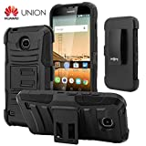 Huawei Union Case, CellJoy [Ultra Rugged Hybrid] {Black} Huawei Union Y538 2015 Release Model **ShockProof** Reinforced Bumper Protection Cover **Kickstand** [Locking Swivel Belt Clip Holster Combo]