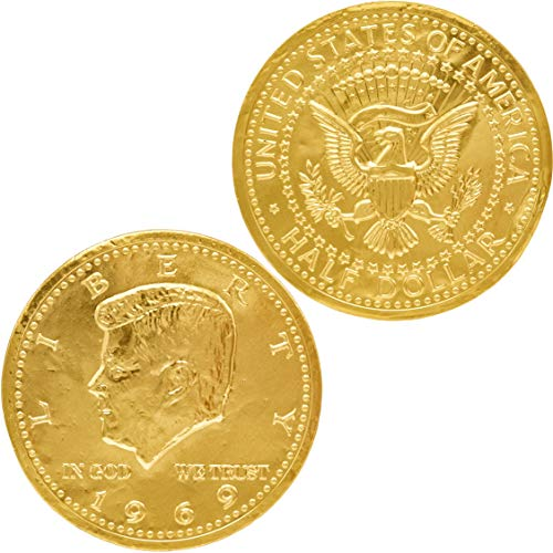 Chocolate Large Half Dollar Gold Coin Gold Belgian Milk Chocolate Coin Kosher (100 Large Half Dollar Coins) ()