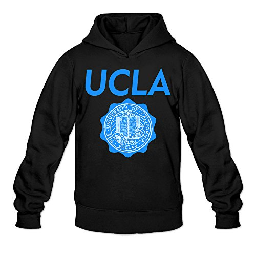 Men's University Of California Los Angeles Logo Sports Fashion Blank Hooded Sweatshirt Black (Happy Halloween Hunger Games)