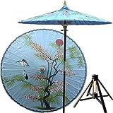 Japanese Outdoor Decor - 7 Foot Tall Asian Splendor Oriental Patio Umbrella (Andaman Blue) with Hardwood Base
