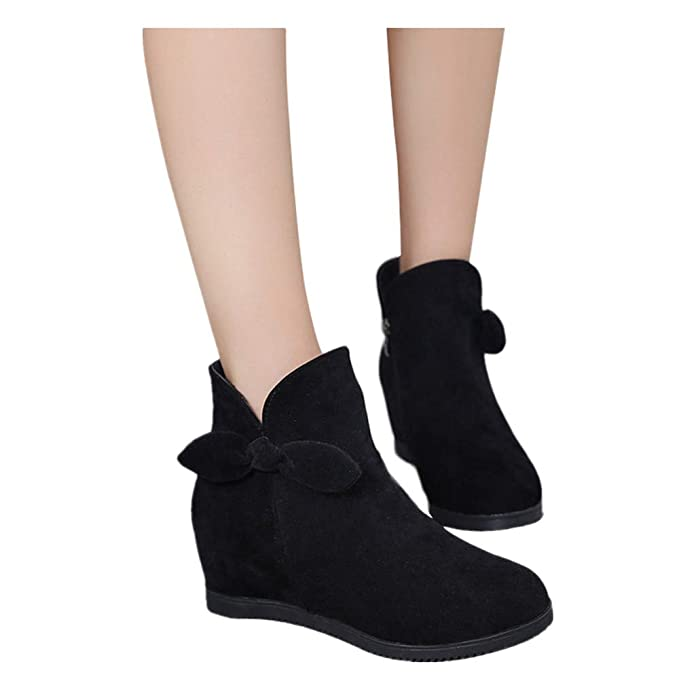 043e9a2acf4 Women s Round Toe Faux Suede Bow Round Toe Wedges Shoes Pure Color Shoes  Zipper Martin Boots