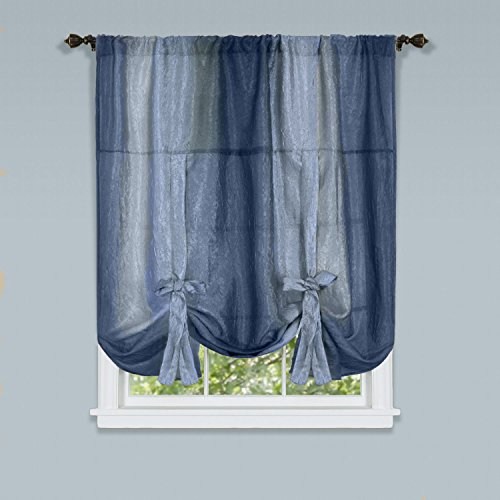 Achim Home Furnishings, Blue Ombre Tie up Shade, 50 by 63', 50 x 63