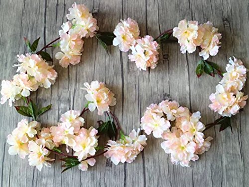 2 Pcs Artificial Cherry Blossom Flowers vine, 6 Ft fake Cherry Blossom Flower Garland. By The Titus Shop