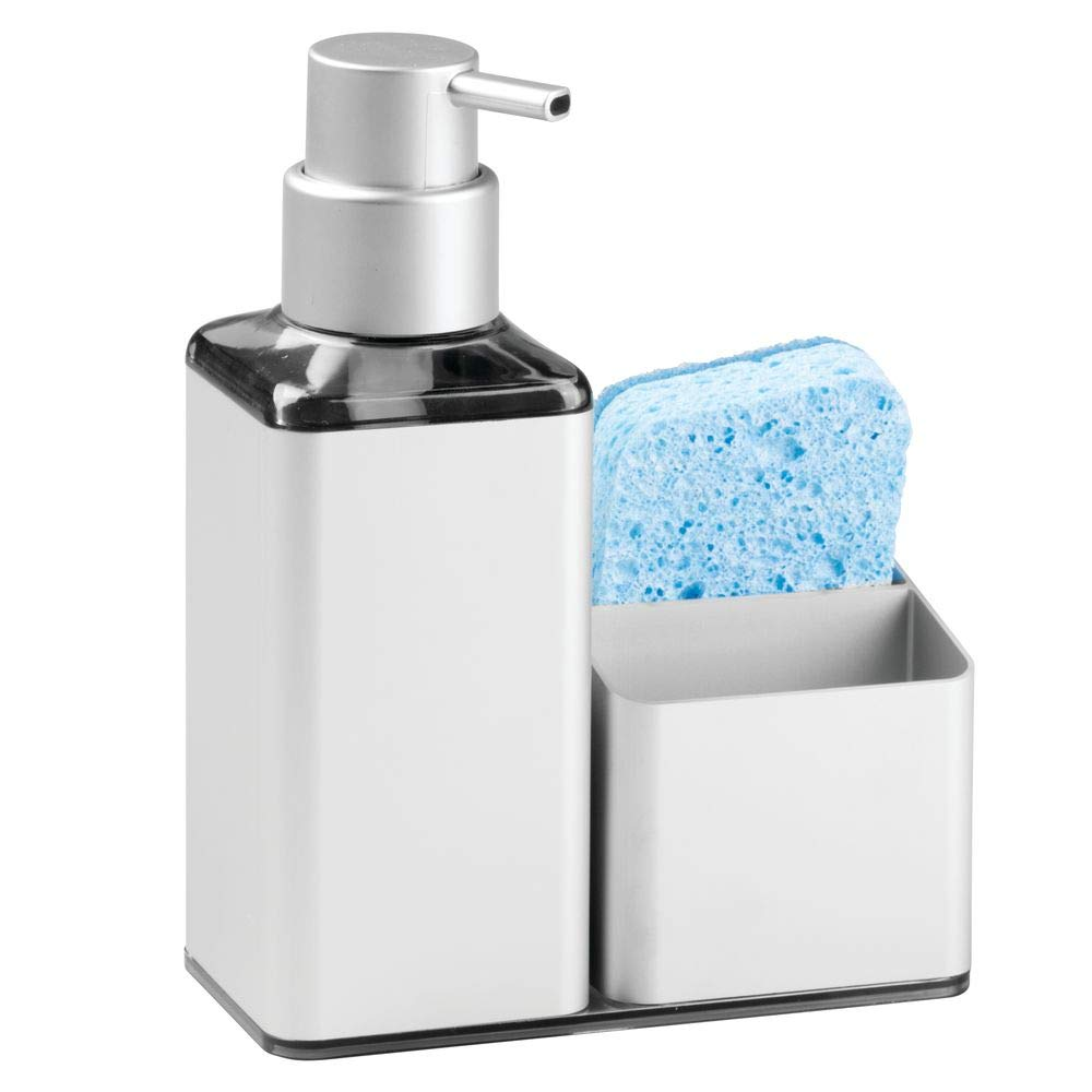 mDesign Modern Aluminum Kitchen Sink Countertop Liquid Hand Soap Dispenser Pump Bottle Caddy with Storage Compartments - Rust Free - Holds and Stores Sponges, Scrubbers and Brushes - Silver