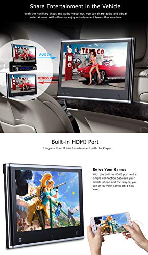 Dual Headrest DVD Player for Car Backseat Video Monitor Auto Rear Seat Entertainment System Touch Screen HD 1080P with DVD USB SD by AUTOWINGS (Image #7)