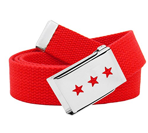 Boy's Triple Star Cut Out Silver Flip Top Belt Buckle with Canvas Web Belt Small Red