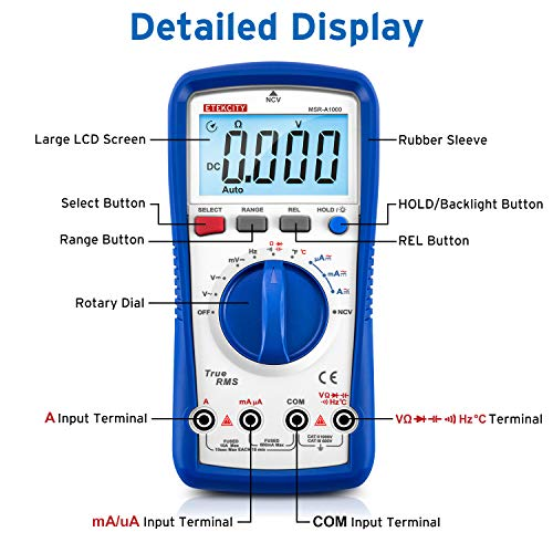 Etekcity Digital Multimeter MSR-A1000, TRMS 6000 Counts Auto-Ranging AC/DC Amp Ohm Voltage Tester Meter with Temperature Frequency Resistance Continuity Capacitance REL Diode Test by Etekcity (Image #3)
