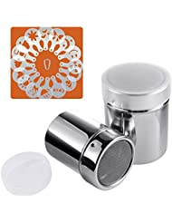 Powder Sugar Shaker with Lid, SOSMAR 2 Sizes 18/8 Stainless Steel Cocoa Cinnamon Mesh Sifter/Sprinkler/Dredgers for Coffee Cappuccino Latte, 16 Pcs Coffee Stencils Template & Clip