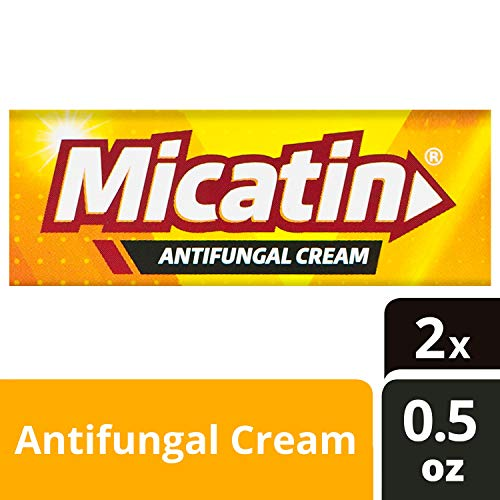 Micatin Antifungal Cream with Miconazole Nitrate 2%, Clinically Proven to Treat Athlete's Foot, Jock Itch, Ringworm and Foot Fungus, 0.5 oz, 2pk