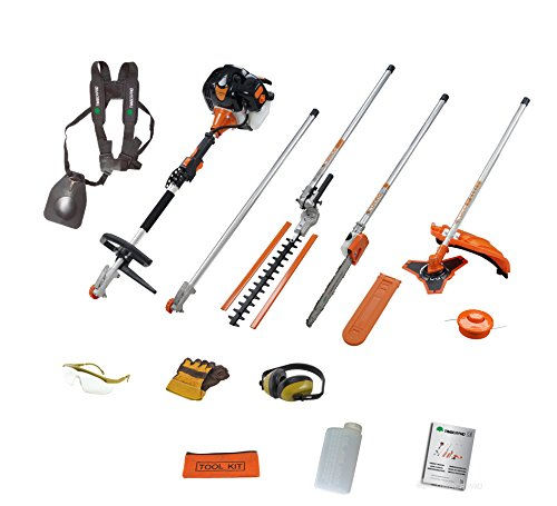 TIMBERPRO 5in1 52CC Petrol Long Reach Multi Function 5 IN 1 Garden Tool. Includes : Hedge Trimmer, Strimmer, BrushCutter, Chainsaw & Extension Pole by T4Tools