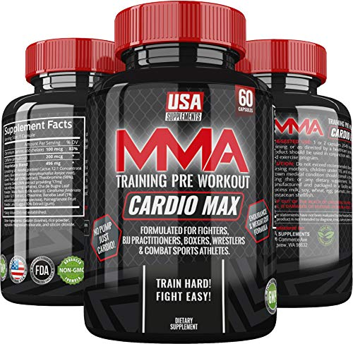 Pre Workout Capsules for Men and Women | Cardio MAX MMA Training Energy Pills | Boost Stamina, Recovery & Endurance for Combat Sports Athletes & Cross Training (200 MG + of Caffeine & More!)