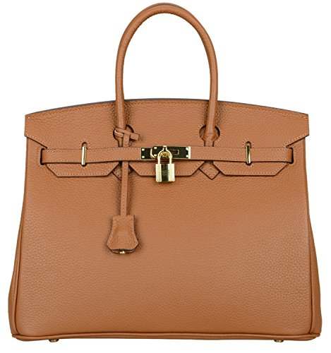 35 Birkin Bag - Cherish Kiss Women's Classic Genuine Leather Tote Padlock Handbags H35(35CM, Brown)