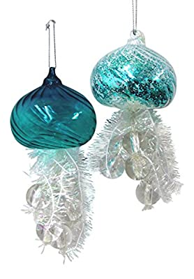 "Kurt Adler 5.5"" Glass Jellyfish Ornament 2/asstd."