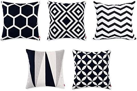 Modern Homes 100/% Cotton Decorative Throw Pillow Covers Cushion Cases 16x16 Set