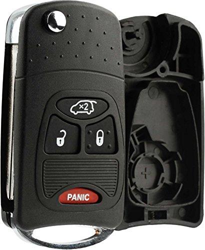 KeylessOption Keyless Entry Remote Fob Car Flip Key Shell Case Pad Housing Uncut Blank Ignition Blade ()