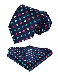 HISDERN Dot Floral Wedding Tie Handkerchief Men's Necktie & Pocket Square Set