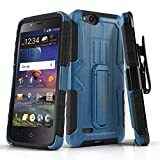 Phone Case for [ZTE ZFIVE G LTE (Z557BL) / ZTE ZFIVE C LTE (Z558VL)], [MAX Series][Blue] Cover with [Kickstand] & [Belt Clip Holster] (Tracfone, Simple Mobile, Straight Talk, Total Wireless)