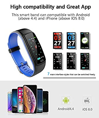 Fitness Tracker Smart Watch, Activity Tracker with Heart Rate Monitor, IP67 Waterproof Smart Fitness Band with Blood Pressure, Step, Calorie Counter, Pedometer Watch for Women and Men