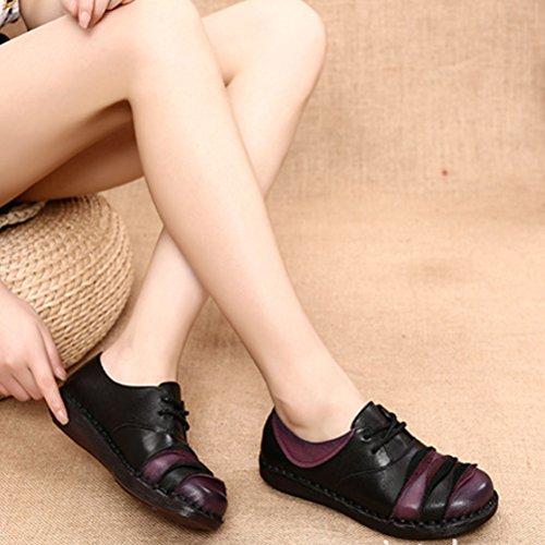 2 Damen Leder Kontrastfarbe Espadrilles Freizeit Style Vogstyle Vintage Handgefertigt Schuhe Schwarz Bequeme vddgwqE