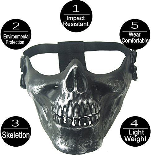 Smartcoco Half Face Skull Mask Halloween Masquerade Scary Realistic Crazy Creepy Party Mask CS Airsoft Paintball Cosplay Mask Protective Gear -
