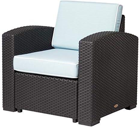 Lagoon Magnolia Black_Rattan Club Chair W/Blue Cushion