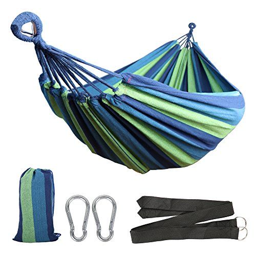 Anyoo Cotton Garden Hammock Outdoor Camping Portable Canvas Swing Bed Stripe 450lbs Capacity Lightweight with Carry Bag for Patio Yard Beach Backpacking Hiking - Excursion Beach Cooler