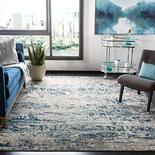 Safavieh Madison Collection MAD460K Modern Contemporary Abstract Area Rug, 10 x 14 , Grey Blue