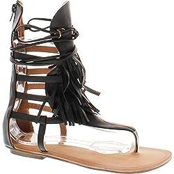 390d1e7fb8d81 Liliana Avis-4 Women s Flat Lace Up 3 Layers Fringe Flip Flop Gladiator  Sandal