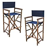 Zew Hand Crafted Tall Foldable Bamboo Director's Chair with Treated Canvas, Set of 2 Chairs, Espresso Finish, Indigo