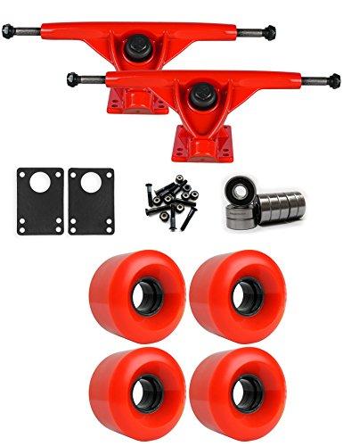 TGM Skateboards RKP Red Longboard Trucks Wheels Package 60mm x 41mm 83A 186C Red