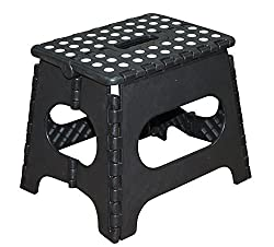 Jeronic 11-Inch Plastic Folding Step Stool, Black