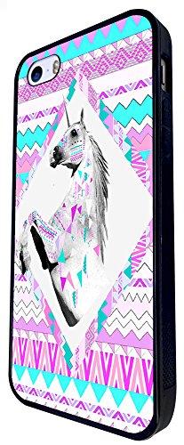 1131 - Cute Cool Fun Unicorn Pink Purple Aztec Design iphone SE - 2016 Coque Fashion Trend Case Coque Protection Cover plastique et métal - Noir