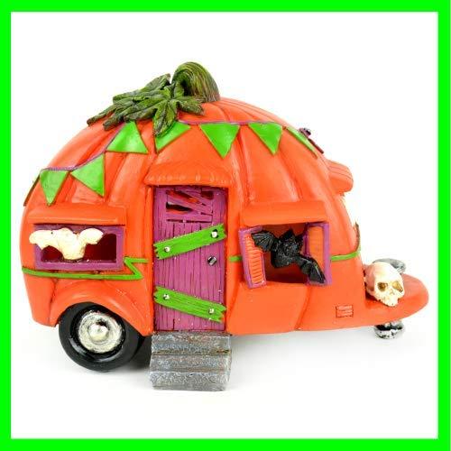 ShopForAllYou Figurines and Statues Fairy Garden Fun Halloween Pumpkin Camper Trailer LED Lighted -