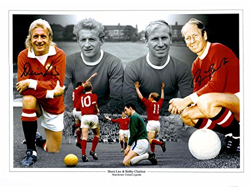 "Denis Law & Sir Bobby Charlton Manchester United Autographed 12"" x 16"" Collage Photograph - ICONS - Fanatics Authentic Certified"