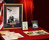 Signed IWO JIMA autographs, 3 MOH, War Ends Newspaper, DVD, FRAME, COA - UACC RD#228, stamps and SAND